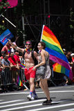 Manhattan, New York, June, 2017:The Gay Pride Parade with big rainbow flag Stock Image