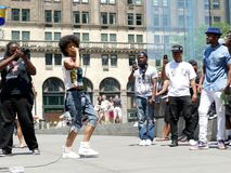 Manhattan New York - June 26, 2016: Street musicians rapping in New York. royalty free stock images