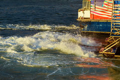 The Manhattan New York. motor boat in the sea Royalty Free Stock Photo