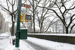 Manhattan, New York nach Schneesturm Stockbild