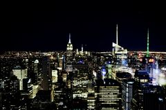 MANHATTAN, NEW YORK - November, 2018: New York City skyline view from Rockefeller Center top of the rock royalty free stock images