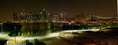 Manhattan New York Night Panorama USA Stock Images