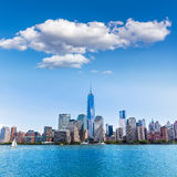 Manhattan New York skyline from Hudson River Stock Images