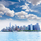 Manhattan New York skyline from NY bay US Royalty Free Stock Images