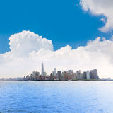 Manhattan New York skyline from NY bay US Royalty Free Stock Photography