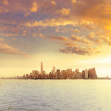 Manhattan New York skyline from NY bay US Royalty Free Stock Photo