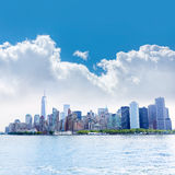 Manhattan New York skyline from NY bay US Stock Photography