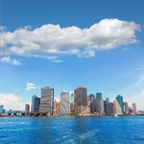 Manhattan New York skyline from NY bay in USA Royalty Free Stock Photos