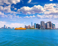 Manhattan New York skyline from NY bay in USA Stock Images