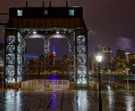 Manhattan New York skyline rainy from East River Stock Photography