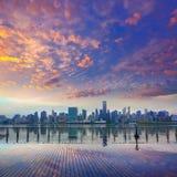 Manhattan New York skyline at sunset East River Royalty Free Stock Photo