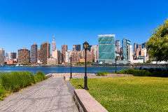 Manhattan New York sunny skyline East River NYC Stock Photos