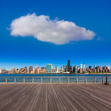Manhattan New York sunny skyline East River NYC Royalty Free Stock Image