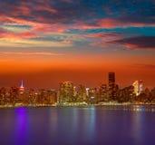 Manhattan New York sunset skyline from East Stock Images