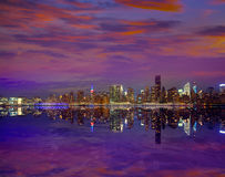 Manhattan New York sunset skyline from East Stock Image