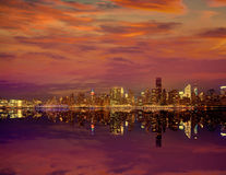 Manhattan New York sunset skyline from East Royalty Free Stock Photography