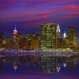 Manhattan New York sunset skyline from East Stock Photography