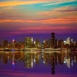 Manhattan New York sunset skyline from East Royalty Free Stock Image