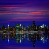 Manhattan New York sunset skyline from East Royalty Free Stock Images