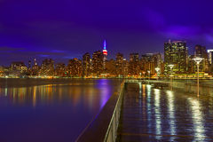 Manhattan New York sunset skyline from East Royalty Free Stock Photo