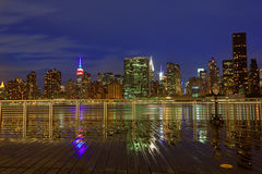 Manhattan New York sunset skyline from East Stock Photos