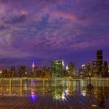 Manhattan New York sunset skyline from East Stock Photo