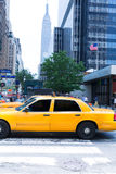 Manhattan New York 8th Av yellow taxi cab US Royalty Free Stock Images