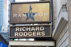 The marquee of Hamilton, An American Musical royalty free stock images