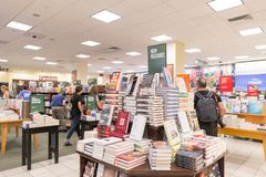 Barnes and Noble store interior. MANHATTAN, New York, United States, August 18, 2018:Times Square, Barnes and Noble store interior. Barnes & Noble Booksellers royalty free stock photos