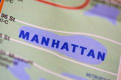 Manhattan, New York, United States. On the map Royalty Free Stock Photo