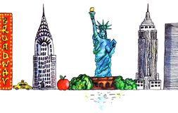 Manhattan New York USA symbols watercolor landscape on white background vector illustration