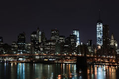 Manhattan. New York. Usa. Towers on Manhattan's Island before the sun rise. New York City stock photography
