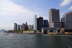 Manhattan New York view from the ferry Royalty Free Stock Photos