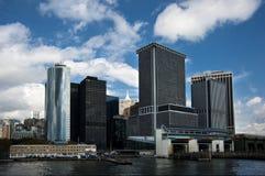 Manhattan, New York, view from the sea. Lower Manhattan Skyline, New York City Royalty Free Stock Photos