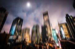 manhattan night Φω'τα φωτισμού και νύχτας Στοκ Φωτογραφίες
