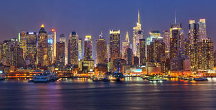 Manhattan at night Stock Photos