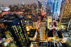 Manhattan by night. New York city colorful lights by night, Manhattan Royalty Free Stock Photo