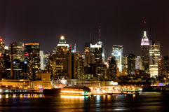 Manhattan at night. View of Manhattan West side from New Jersey side of Hudson Royalty Free Stock Photography