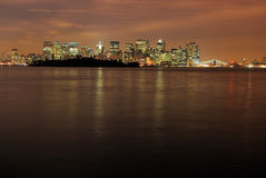 Manhattan at Night. This is a wide angle shot of the city of Manhattan, New York. This photo was waken from the Jersey side of the Hudson river. This shot has Royalty Free Stock Image