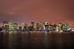 Manhattan at Night. This is a shot of Manhattan taken at night. The image was shot on the Jersey side of the Hudson river. The image is a wide angle shot. It Royalty Free Stock Images