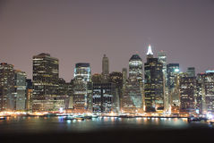 Manhattan at Night. This is a shot of Manhattan from the Brooklyn side of the River Royalty Free Stock Images