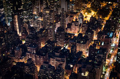 Manhattan by night. Birds eye view of New York from the Empire State Building Observatory Stock Photos
