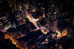 Manhattan by night. Birds eye view of New York from the Empire State Building Observatory Stock Photo
