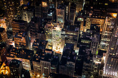 Manhattan by night. Birds eye view of New York from the Empire State Building Observatory Stock Images
