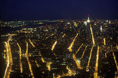 Manhattan at night from Empire State Building, New York City, NY Royalty Free Stock Photo
