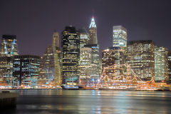 Manhattan at Night, HDR Stock Photo
