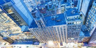 Manhattan night lights. Midtown city skyline, downward view.  stock photos