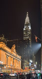 Manhattan at night - 42nd Street. Royalty Free Stock Photos