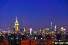 Manhattan At Night, New York City stock photo