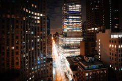 Manhattan at night Stock Images